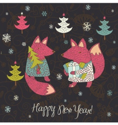 Christmas card with fox vector image vector image
