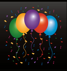 Colored balloons flying confetti and dark vector
