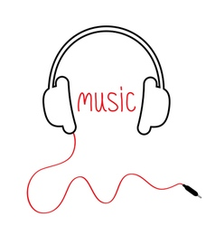 Contour black headphones with cord and red word vector image