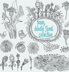 Doodle floral collection vector image
