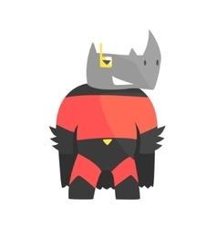 Rhinoceros Smiling Animal Dressed As Superhero vector image vector image