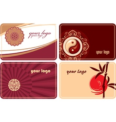 set of cards with oriental design vector image vector image