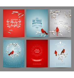 Set of Christmas Brochures and Cards vector image vector image