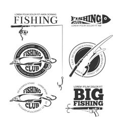 Vintage fishing labels logos emblems set vector image