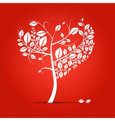 Abstract heart-shaped tree on red background vector image vector image