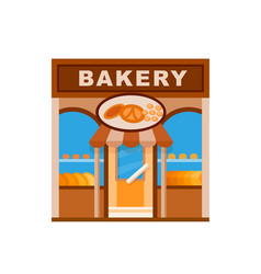 bakery front view flat icon vector image vector image