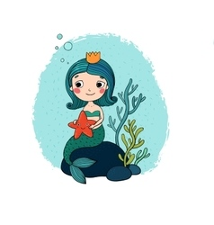 Beautiful little mermaid with a starfish sitting vector