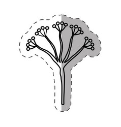 branch flower decorative monochrome vector image