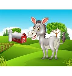 Cartoon happy donkey in the farm vector image vector image