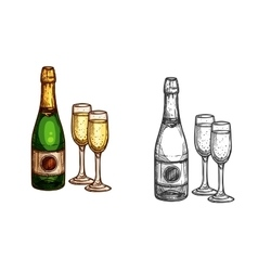 Christmas New Year champagne bottle glass sketch vector image vector image