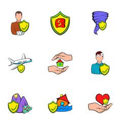 insurance icons set cartoon style vector image