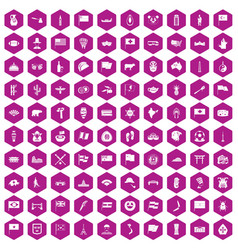 100 national flag icons hexagon violet vector image