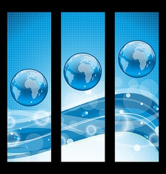 Abstract banners wavy water line and earth symbol vector image