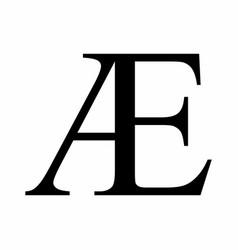 Ae ligature latin capital letter icon vector