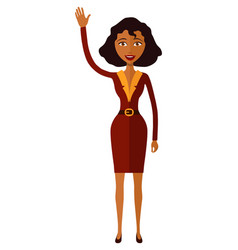 african american woman waving her hand cartoon vector image