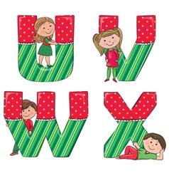 Alphabet kids VWUX vector