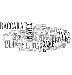 Baccarat made easy text word cloud concept vector