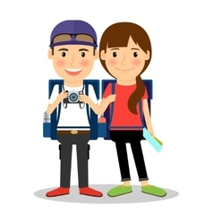 Backpackers young tourist couple vector