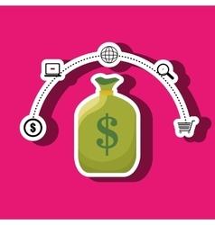 Bag money dollar shop vector
