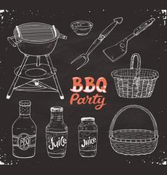 Bbq accessories sketch vector