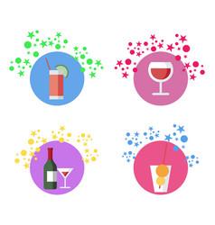 beverages cocktails set vector image