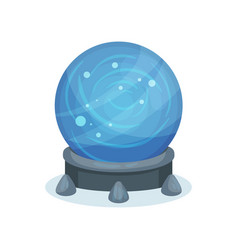 Big blue magic ball on gray stand crystal sphere vector