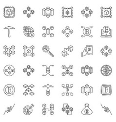 blockchain concept icons set in outline vector image