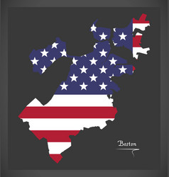 Boston massachusetts map with american national vector