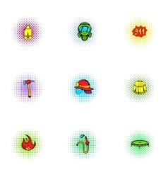 Burning icons set pop-art style vector image