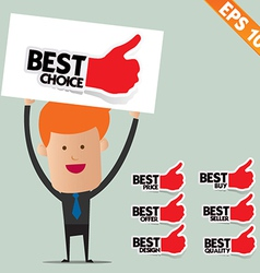 Business man show sticker tag - - EPS10 vector image