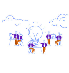 business people brainstorming process generating vector image