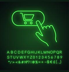 Buy button neon light icon vector