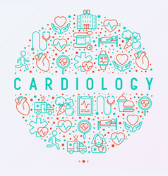 Cardiology concept in circle with thin line icons vector