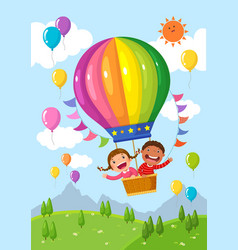 Cartoon kids riding a hot air balloon over the vector