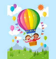 Cartoon kids riding a hot air balloon over vector