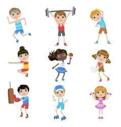 Children Doing Sports Set vector image vector image