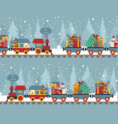 Christmas train with bear reindeer gifts seamless vector