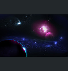colorful nebula in space background glowing vector image