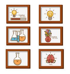 Creative big idea set icons vector