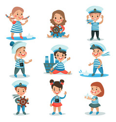cute little kids in sailors costumes playing and vector image