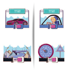 driver safely campaign set icons vector image