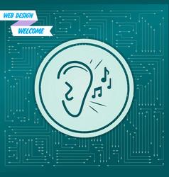 ear listen sound signal icon on a green vector image