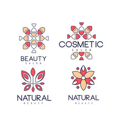 emblems for beauty salon in linear style vector image