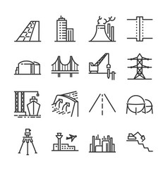Engineering line icon set vector