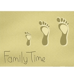 family footprints on sand vector image