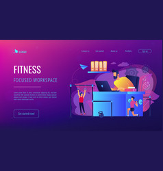 fitness-focused workspace concept landing page vector image