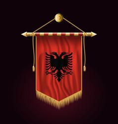Flag of albania festive vertical banner wall vector