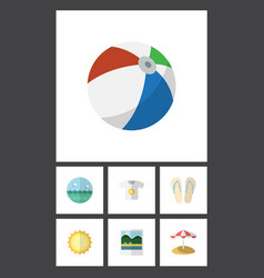 flat icon season set of ocean reminders parasol vector image
