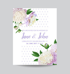 Floral wedding invitation white peony flowers vector