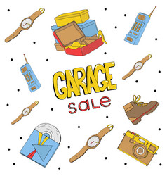 Garage sale hand drawn seamless pattern camera vector